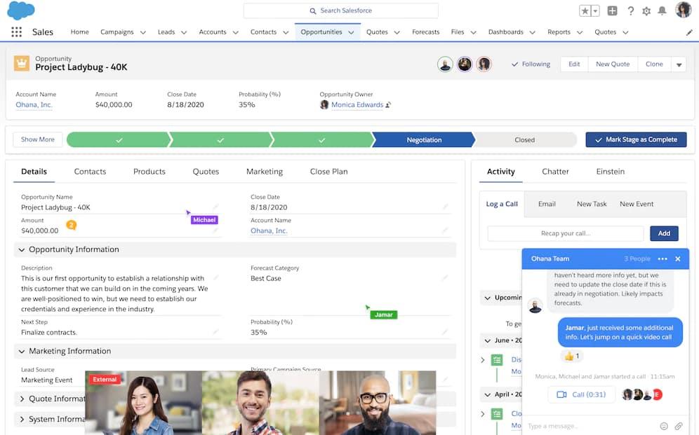 Salesforce messagerie instantanée