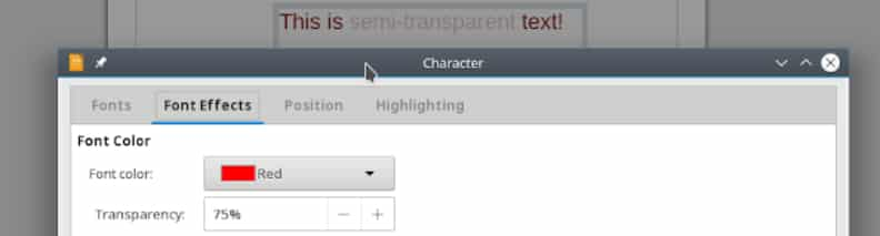 Draw texte transparent