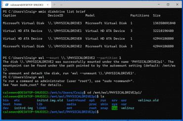 WSL 2 montage Linux
