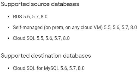 Bases de données prises en charge