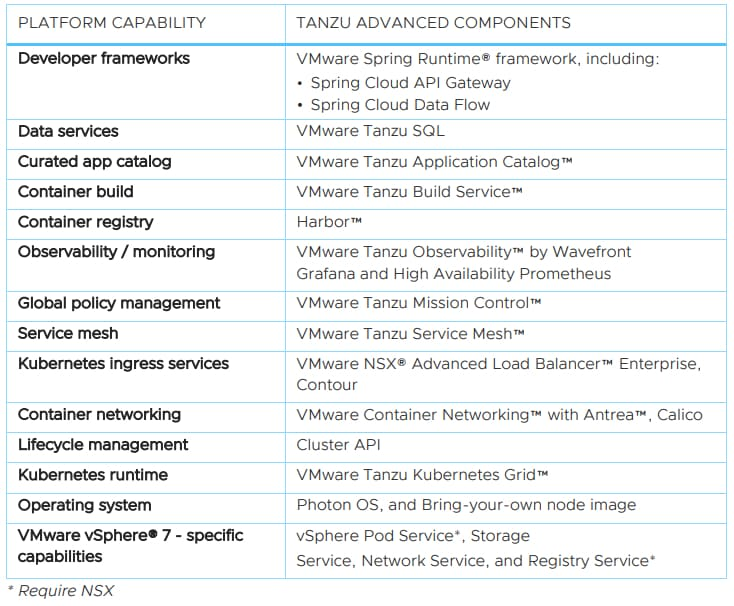 Tanzu Advanced capacités