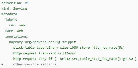 backend config snippet