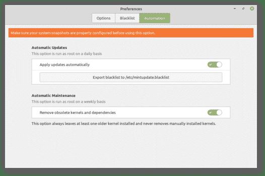 Linux Mint mises à jour automatiques gestionnaire