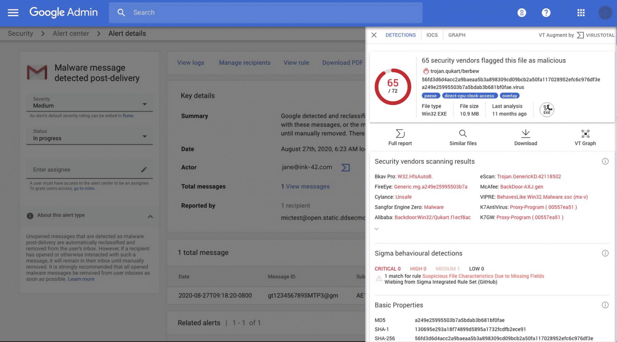Google Workspace VirusTotal