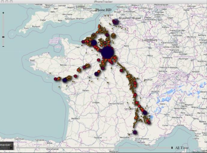 Données cartographiées depuis les enregistrement de géolocalisation de l'iphone