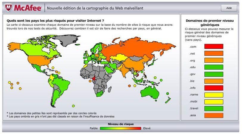 McAfee cartographie des menaces du web