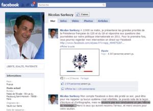 Page Facebook de Nicolas Sarkozy